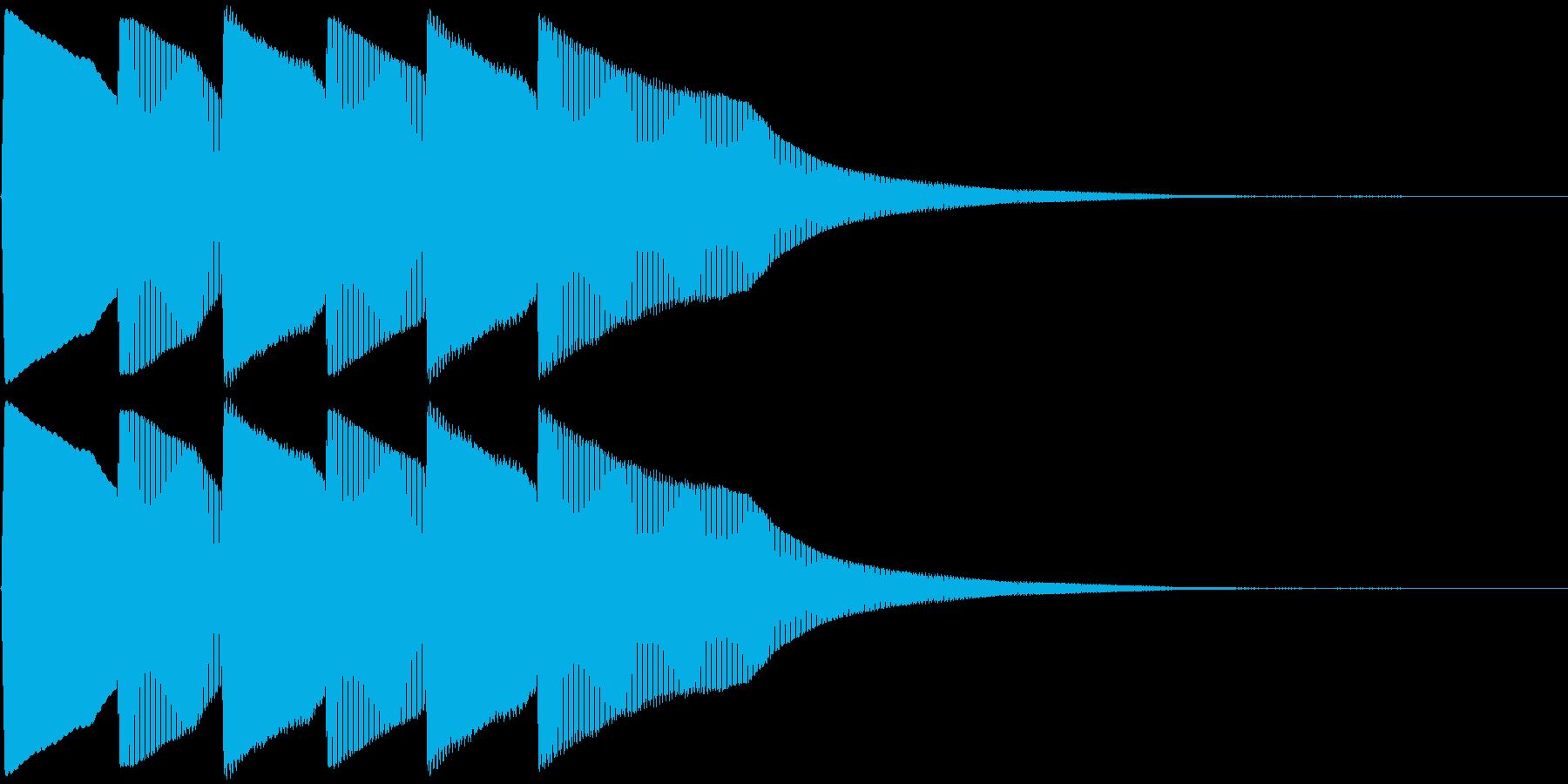 ピンポン×3回(クイズの正解音)の再生済みの波形