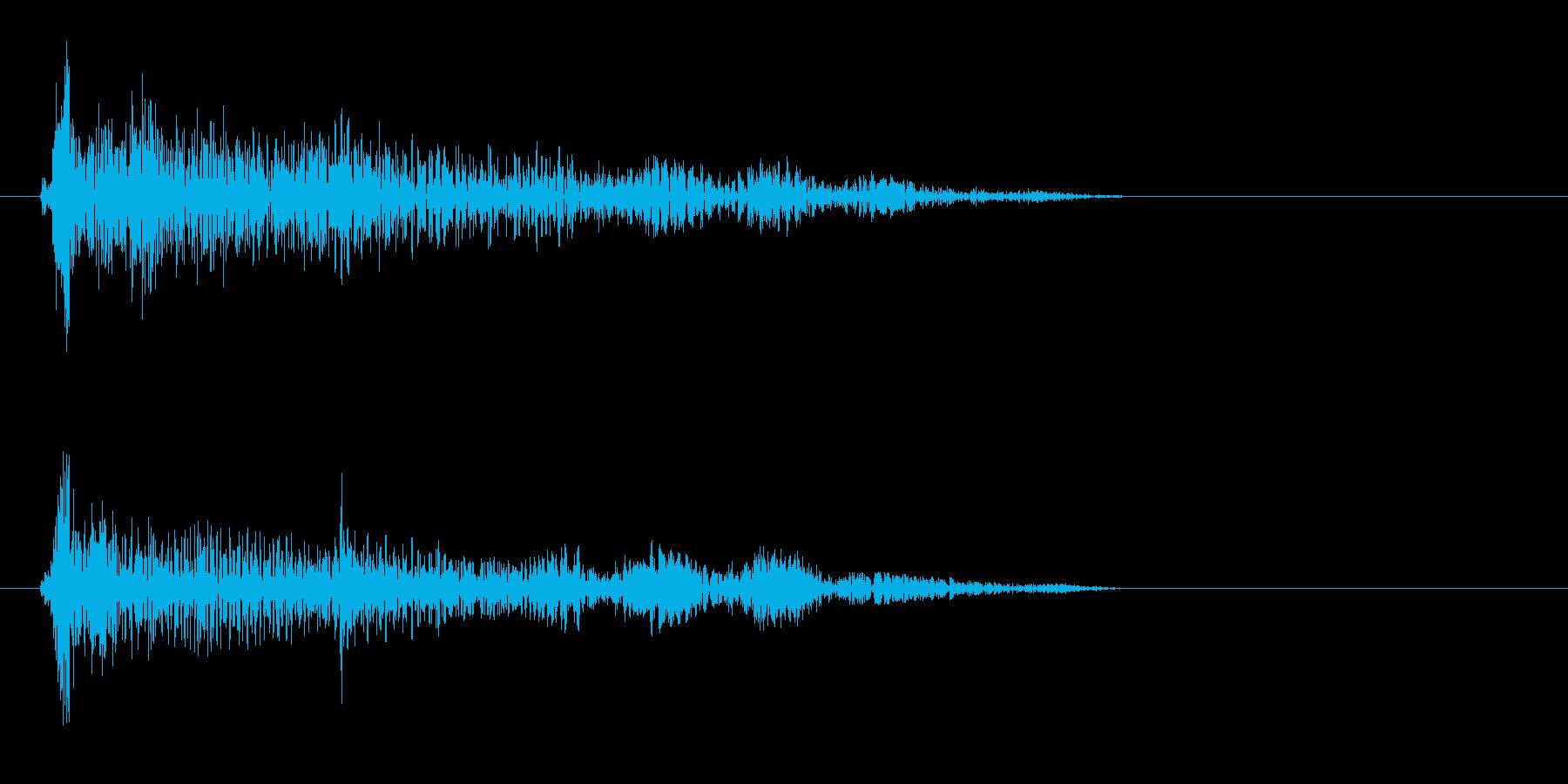 カーンというプラスチック音の再生済みの波形