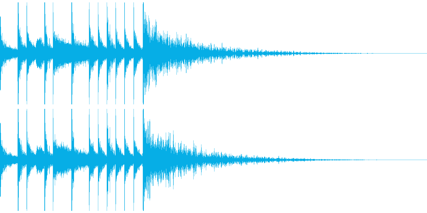 ドラムのジングル、サウンドロゴの再生済みの波形