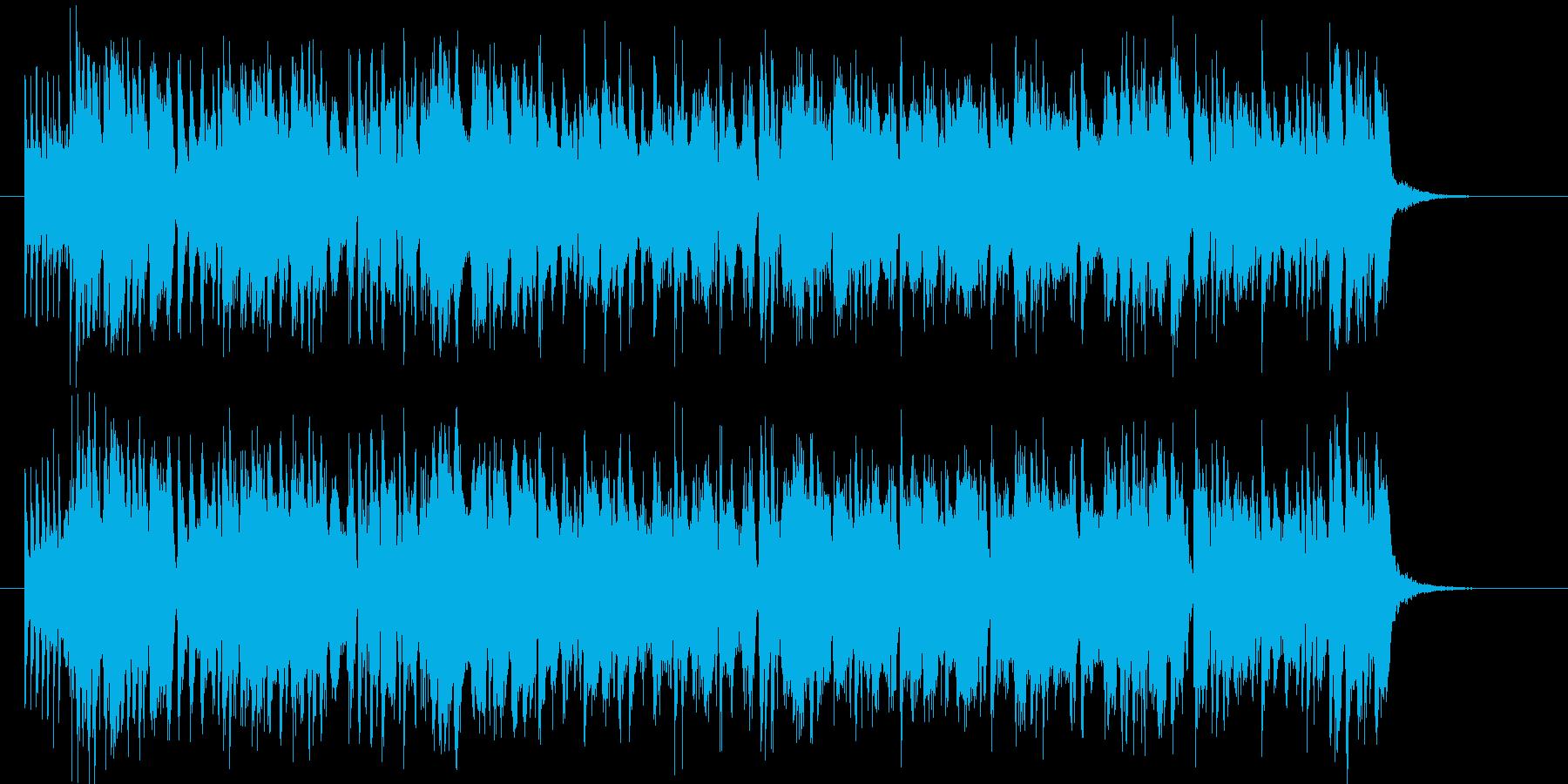 激しいグルーヴのフュージョン曲の再生済みの波形