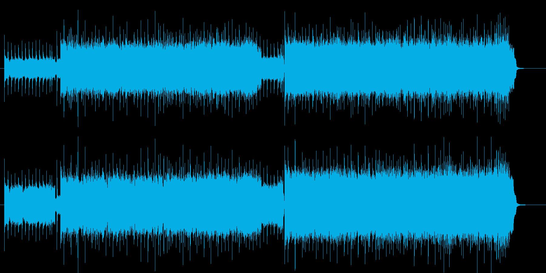 シンセの入った勢いのあるロックバンド曲の再生済みの波形