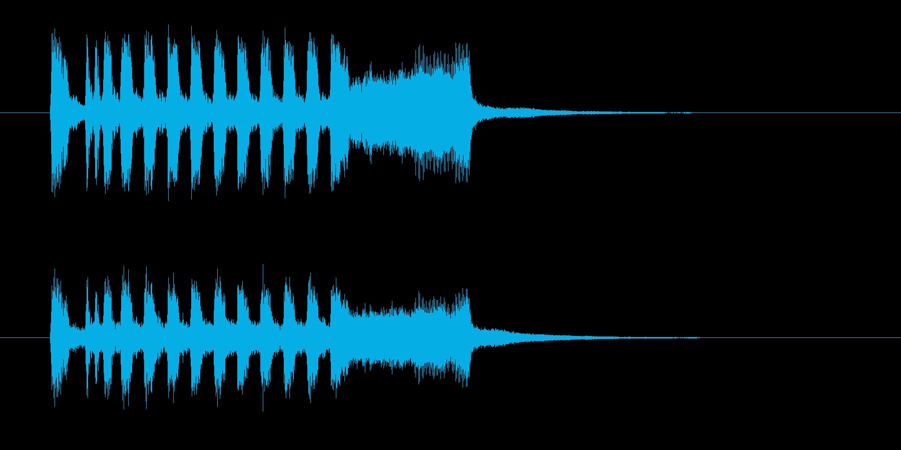 空高く鳴り響くラッパの再生済みの波形