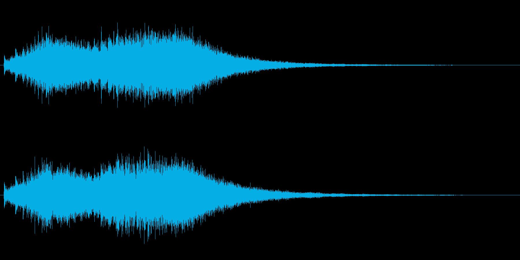 ジャジャジャ〜ン・・・複数のドラの連打音の再生済みの波形