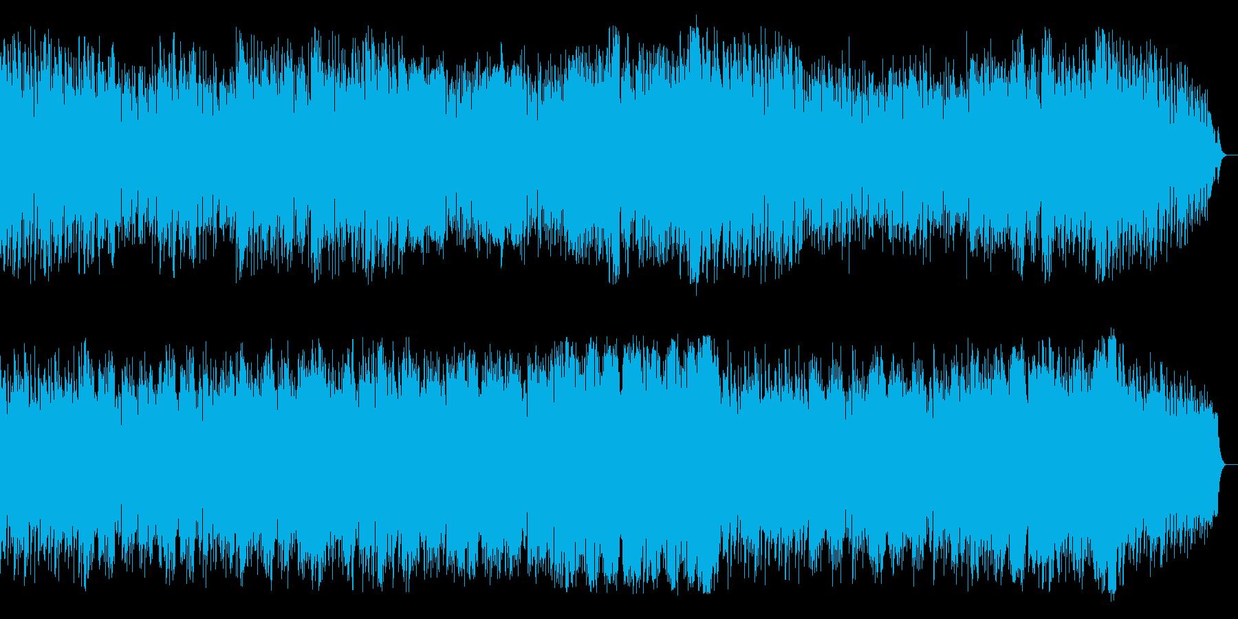明るくポジティブなピアノ管楽器による楽曲の再生済みの波形