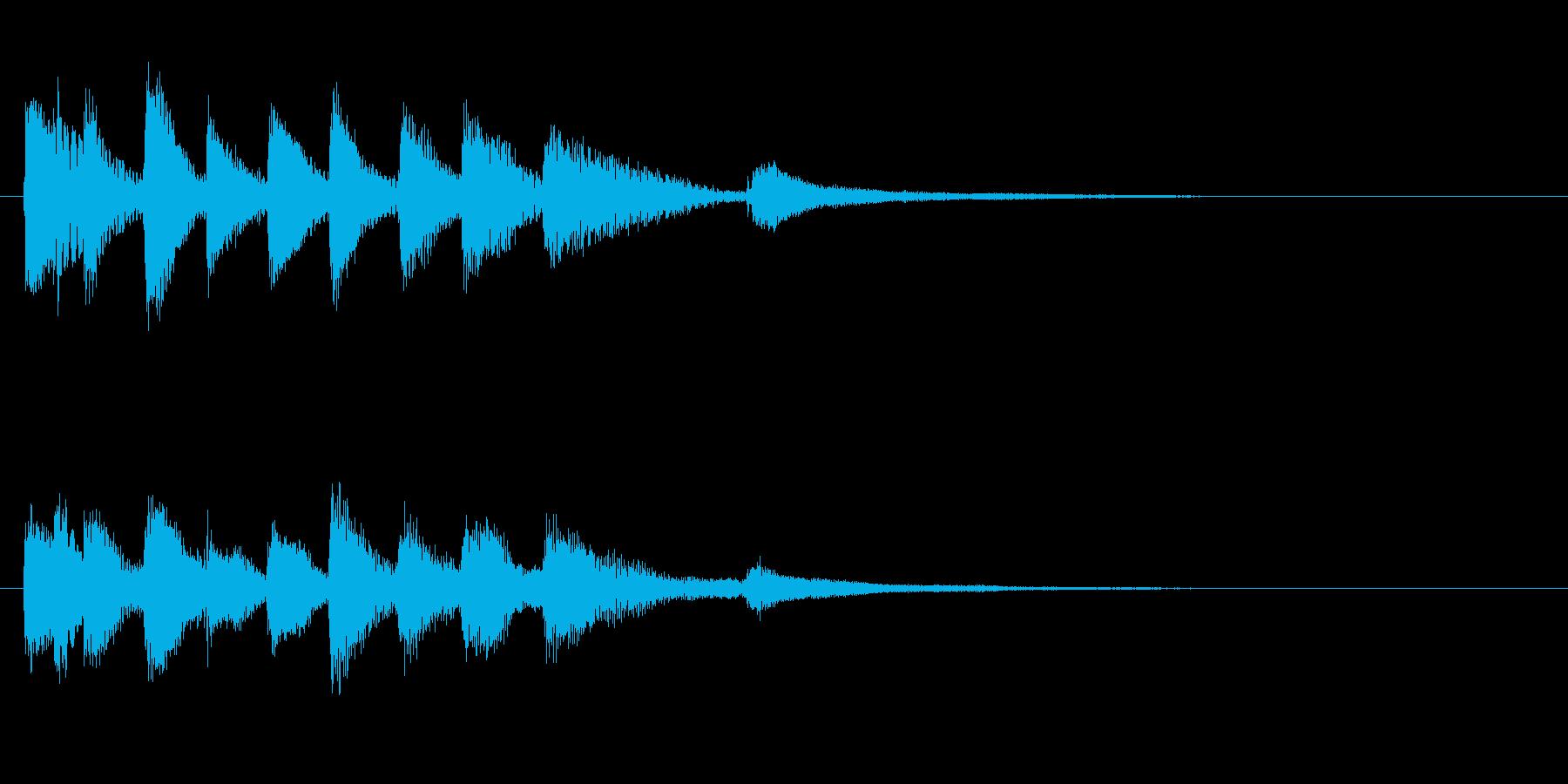 ピアノの明るいジングル・場面転換の再生済みの波形