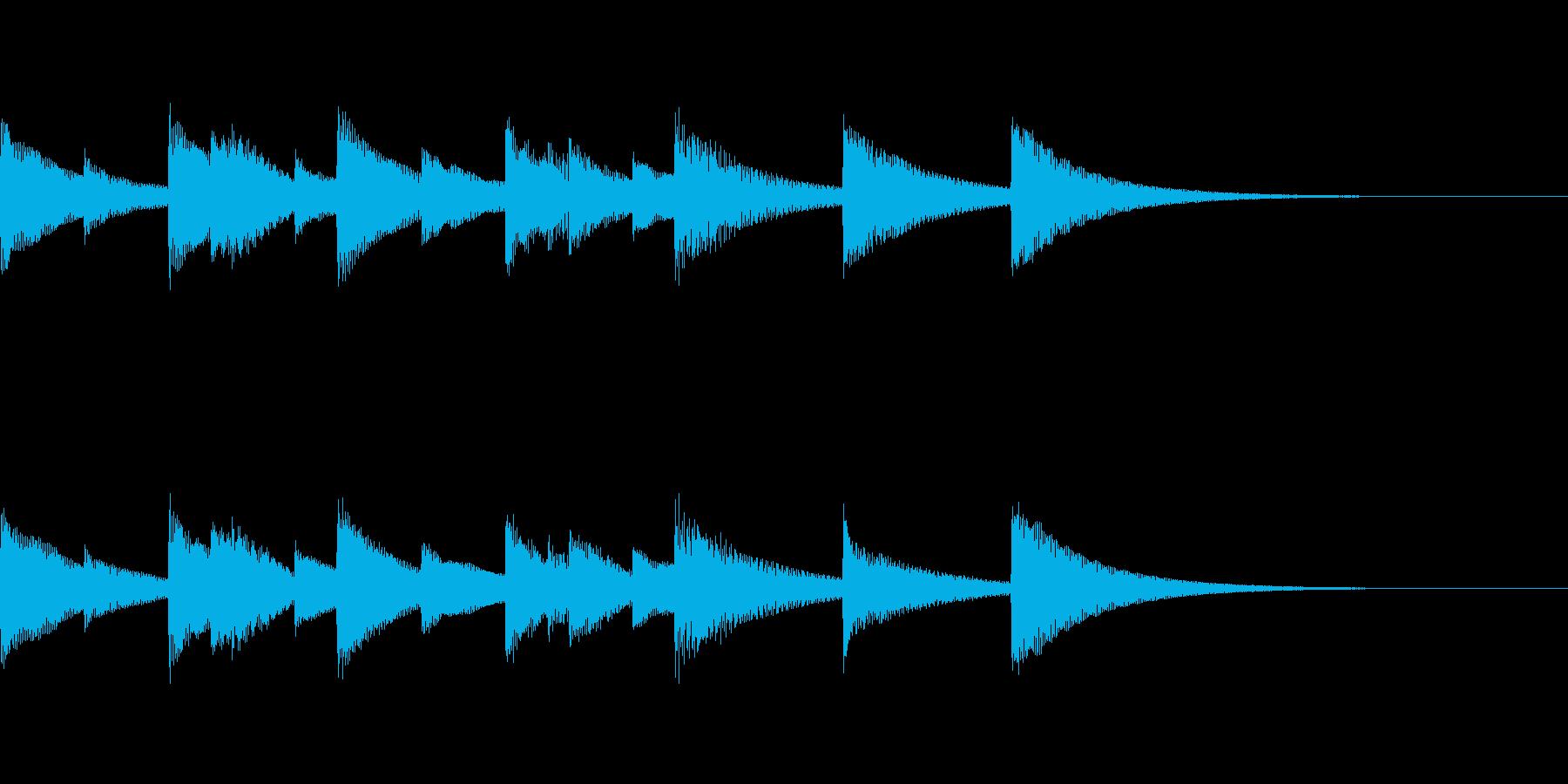 優しいオルゴールジングルの再生済みの波形