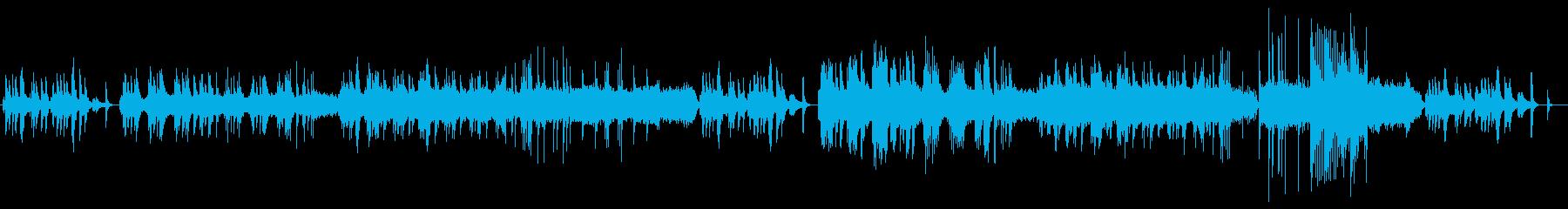 静かな夜のピアノとストリングスのBGMの再生済みの波形