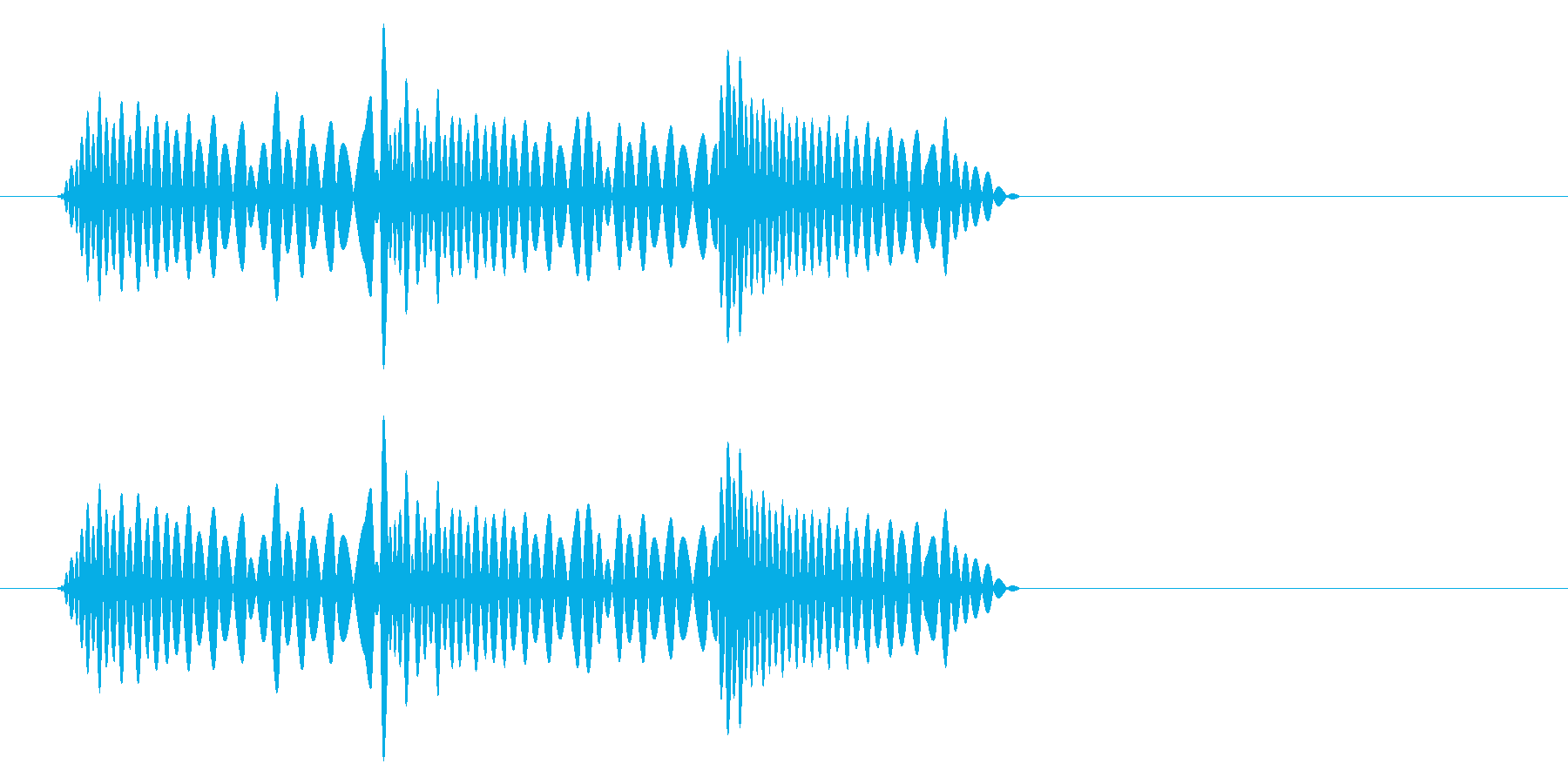 急に止まる時のイメージ音の再生済みの波形