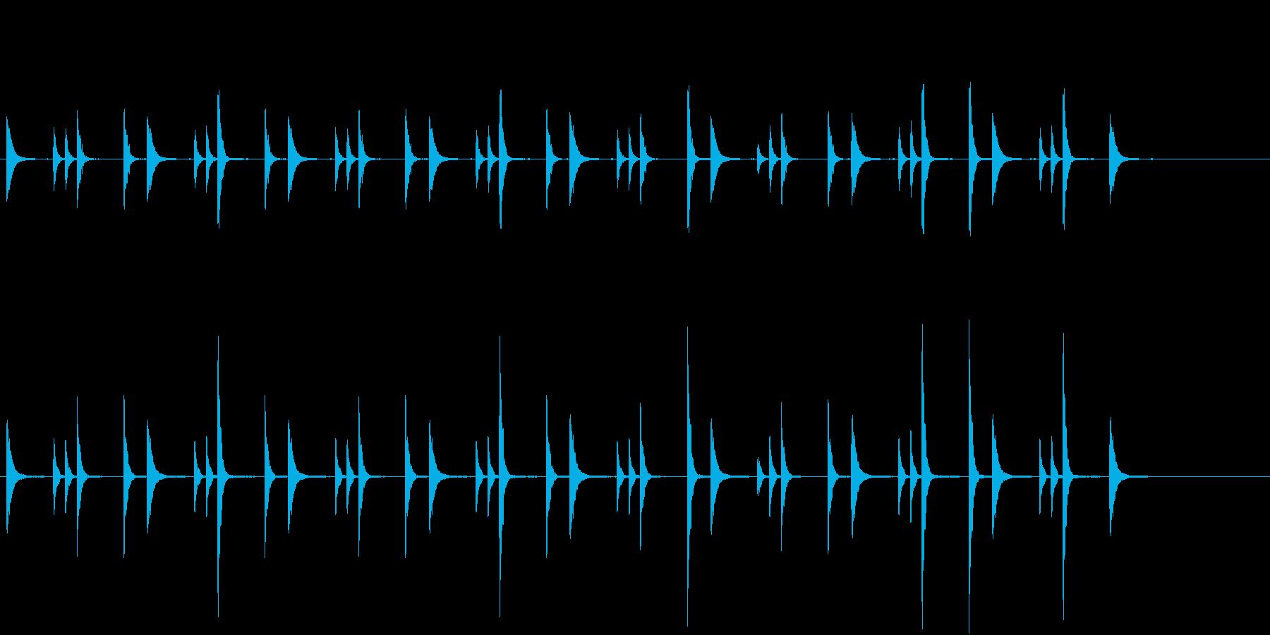 お囃子祭りの軽快な当り鉦のループ音FX有の再生済みの波形