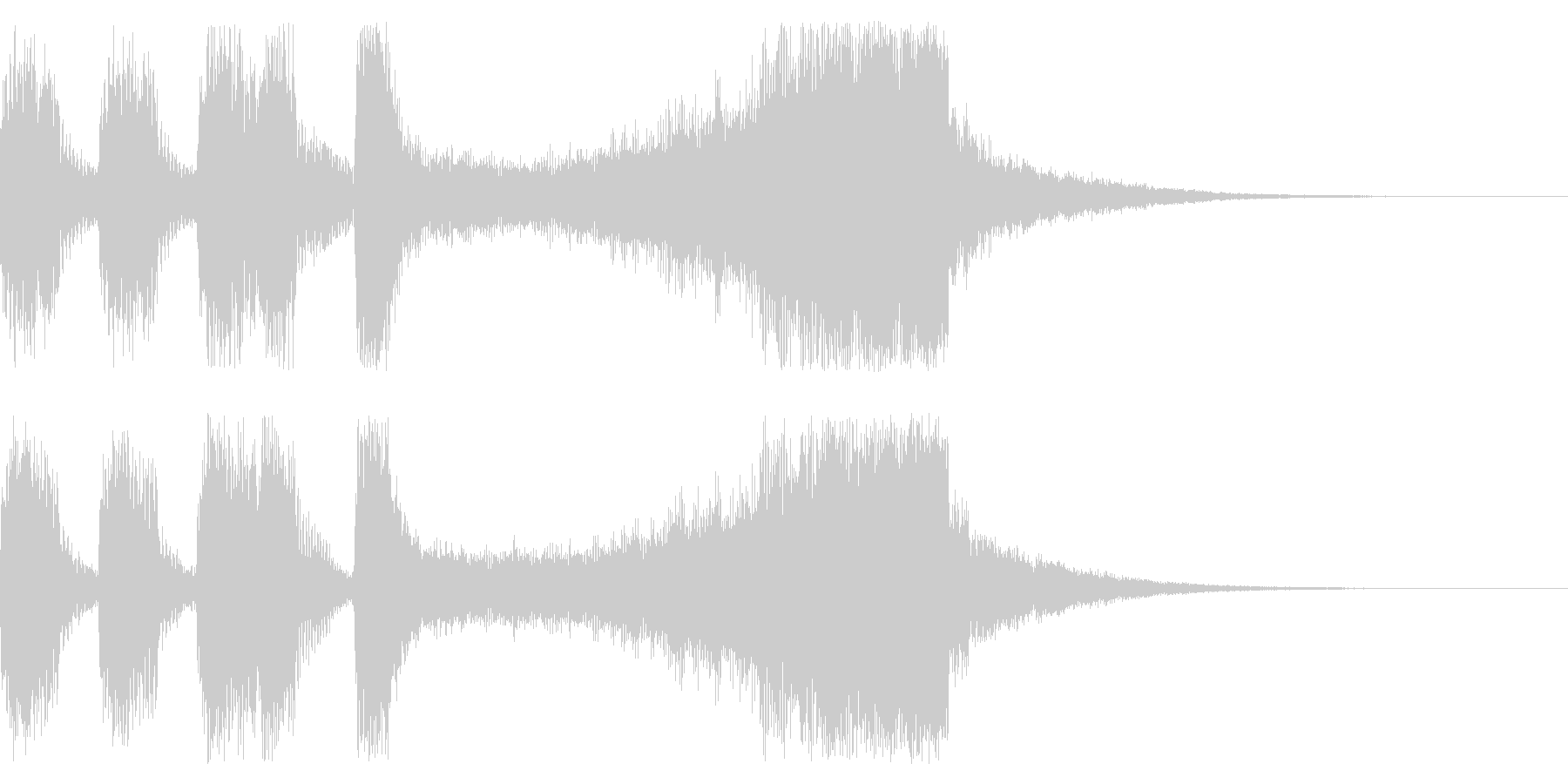 マリンバとブラスのファンファーレの未再生の波形