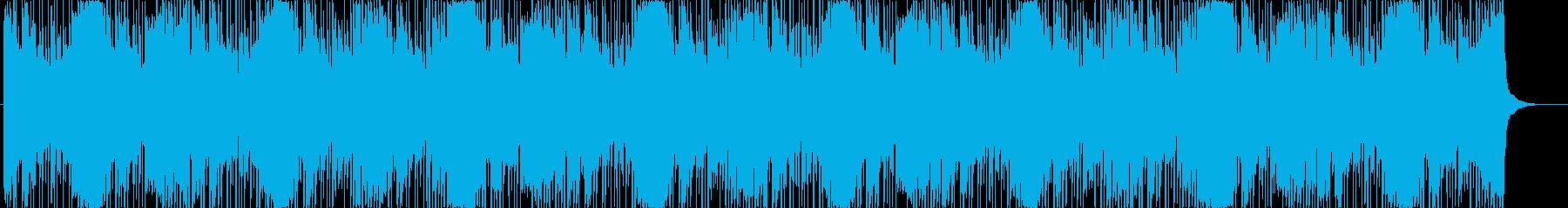 ピアノとリズムシーケンスの緊迫系ゲーム曲の再生済みの波形