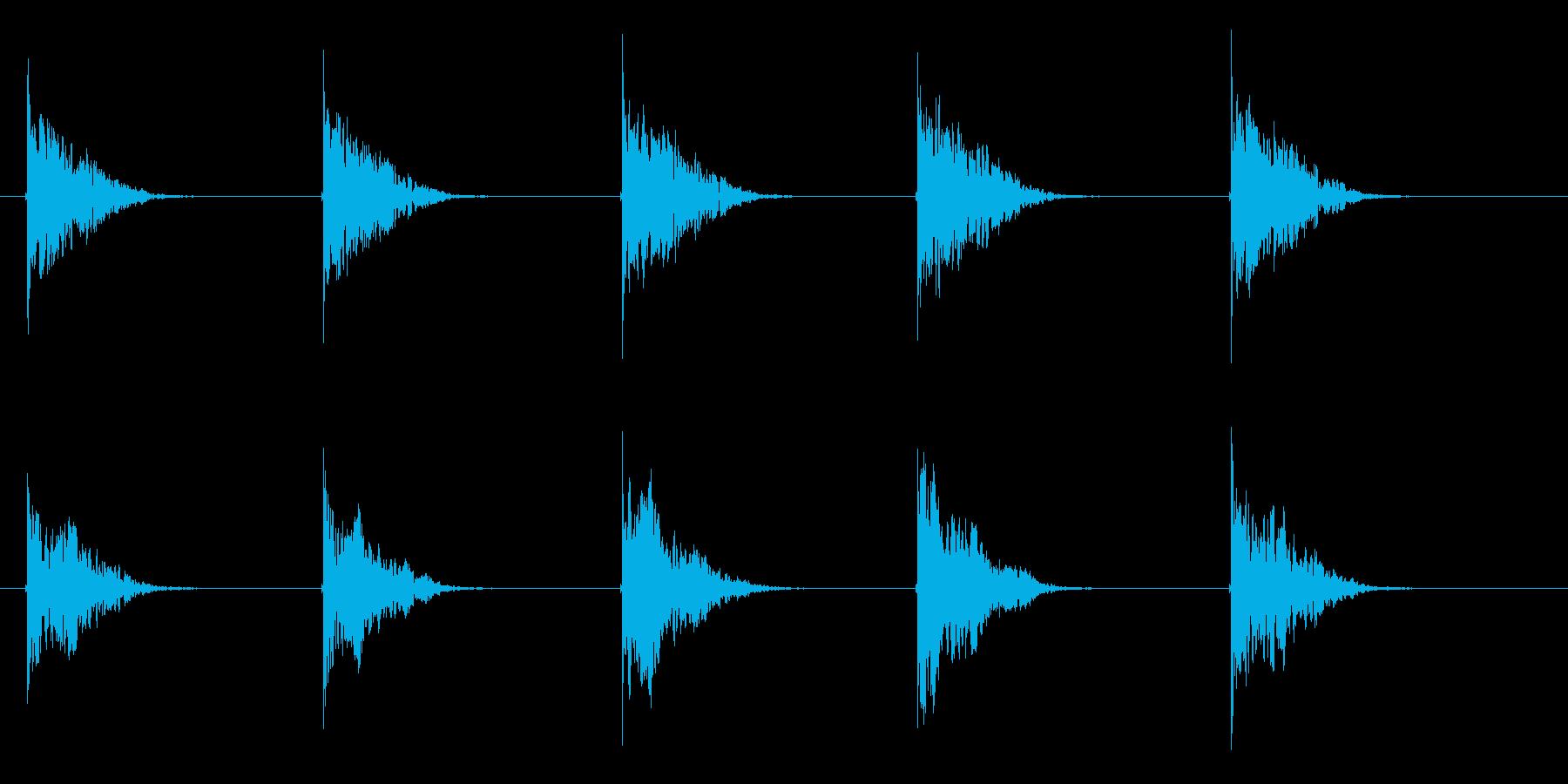 クーンという透明感ある音が繰り返されるの再生済みの波形