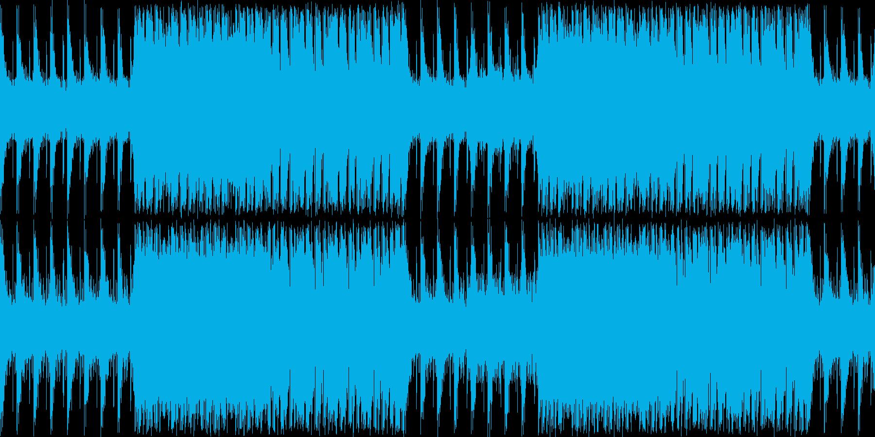 緊張感溢れるサイバーで無機質な楽曲ループの再生済みの波形