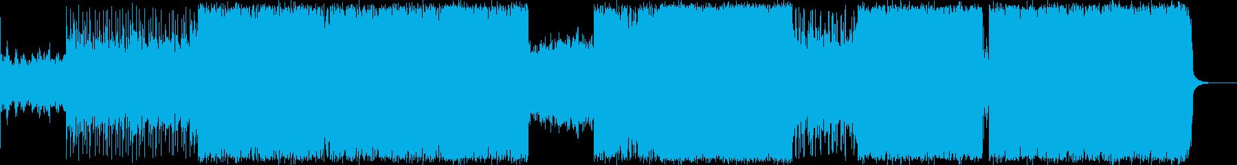 ドラムンベースをミックスしたロックの再生済みの波形