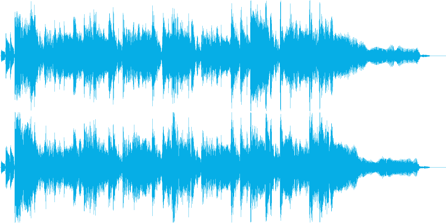まもなく終わりを告げるBGMの再生済みの波形