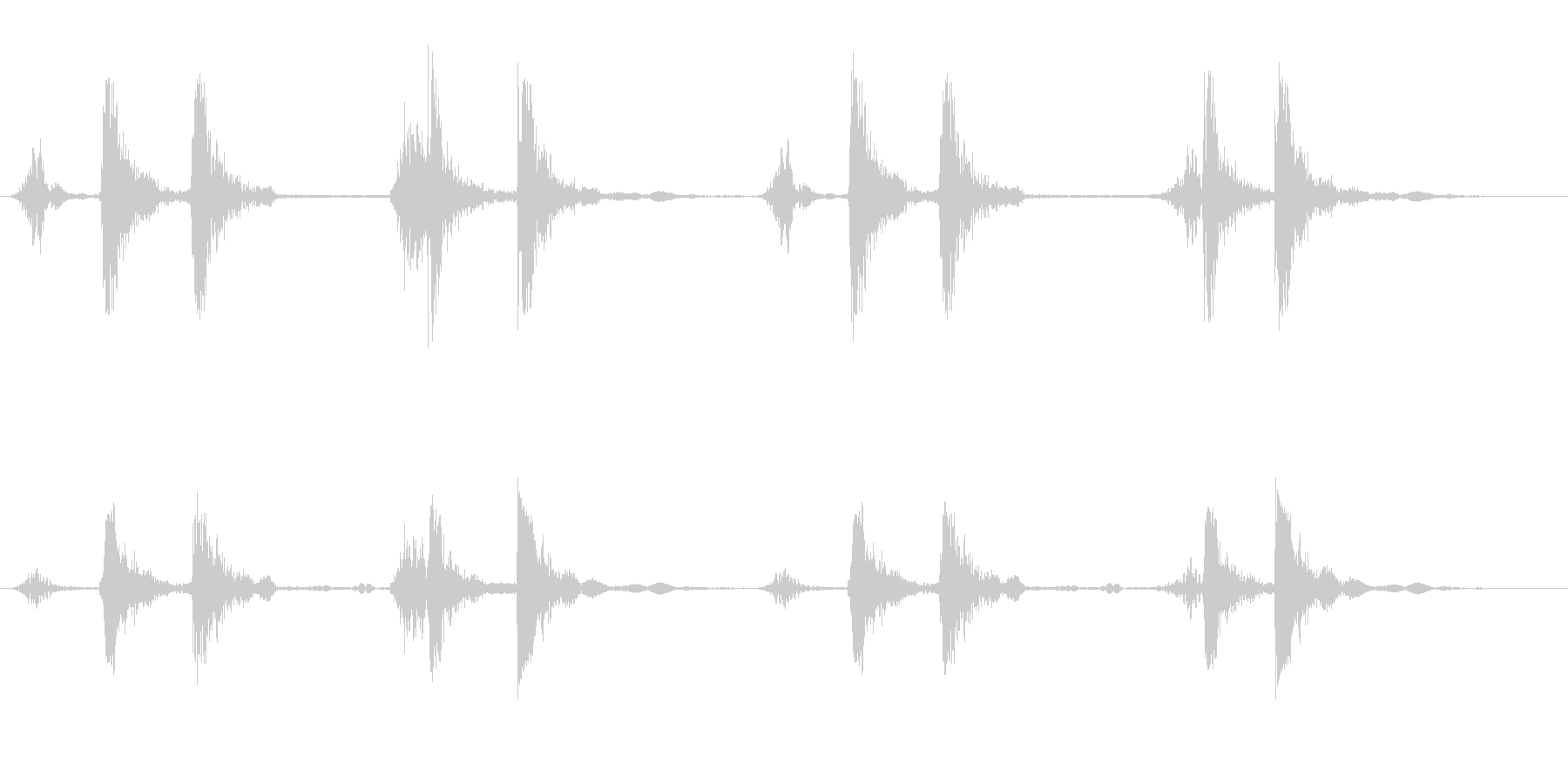 リズミカルで軽い音が連続している効果音の未再生の波形