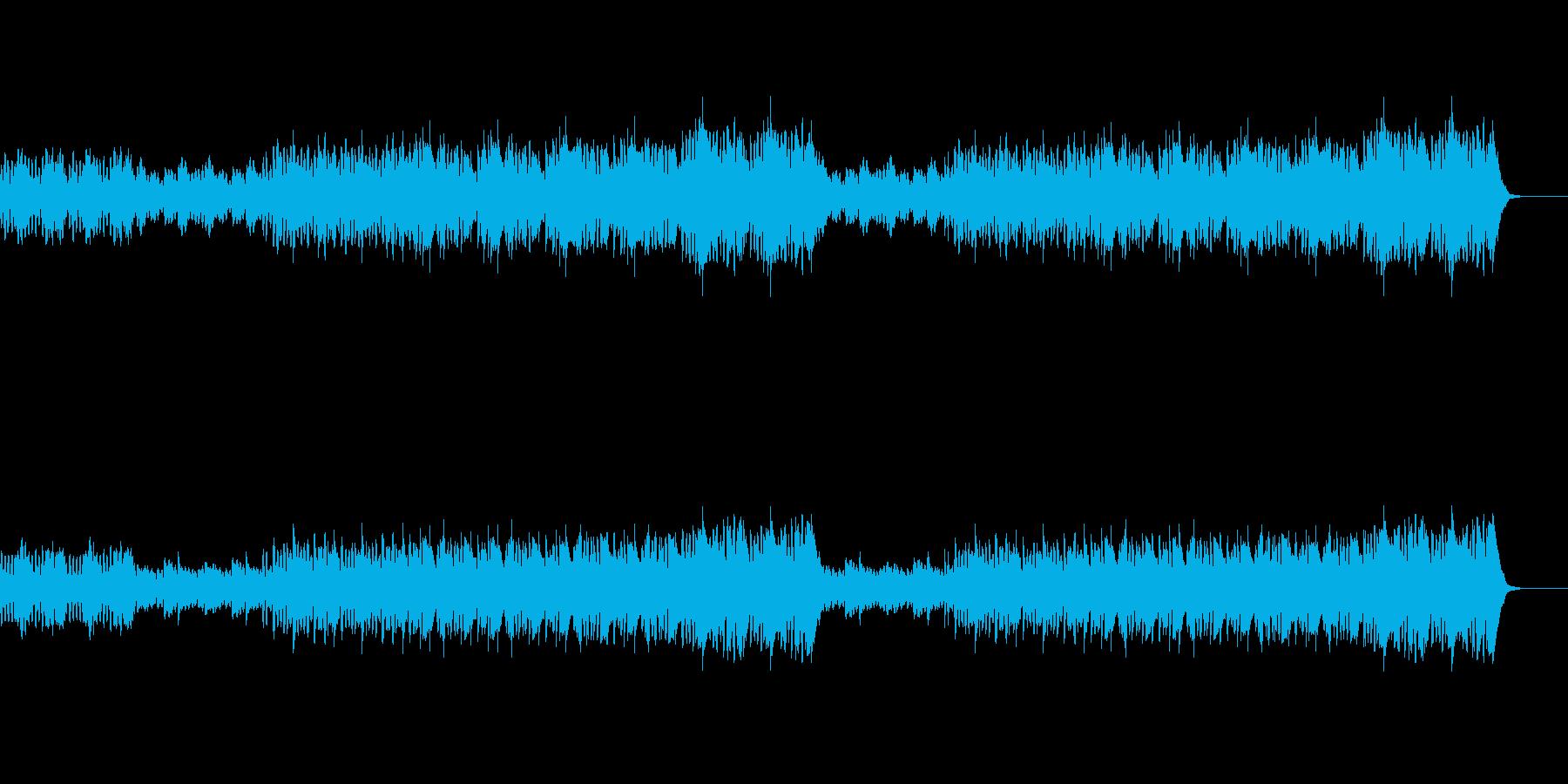 打楽器とフルート、オーボエの軽快なBGMの再生済みの波形