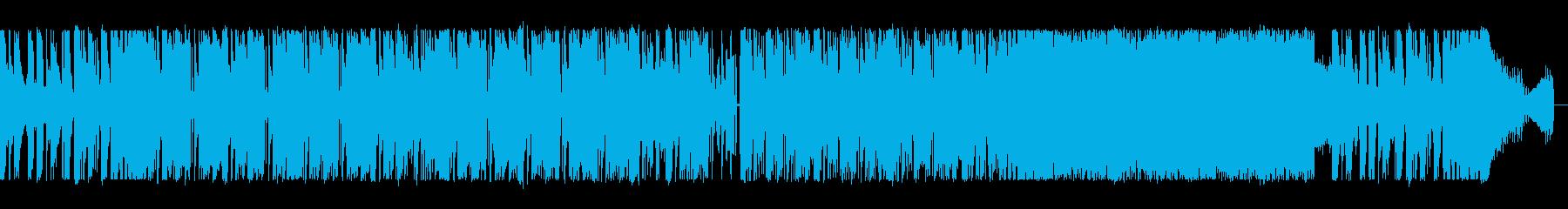 ギターとシンセサイザーのハードロックの再生済みの波形