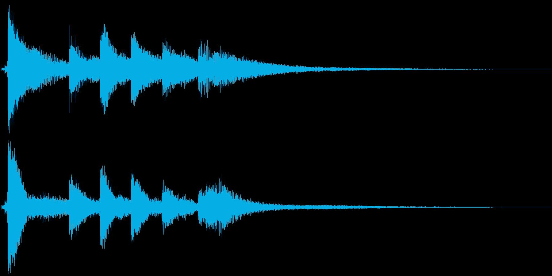 ピアノのショートジングルの再生済みの波形