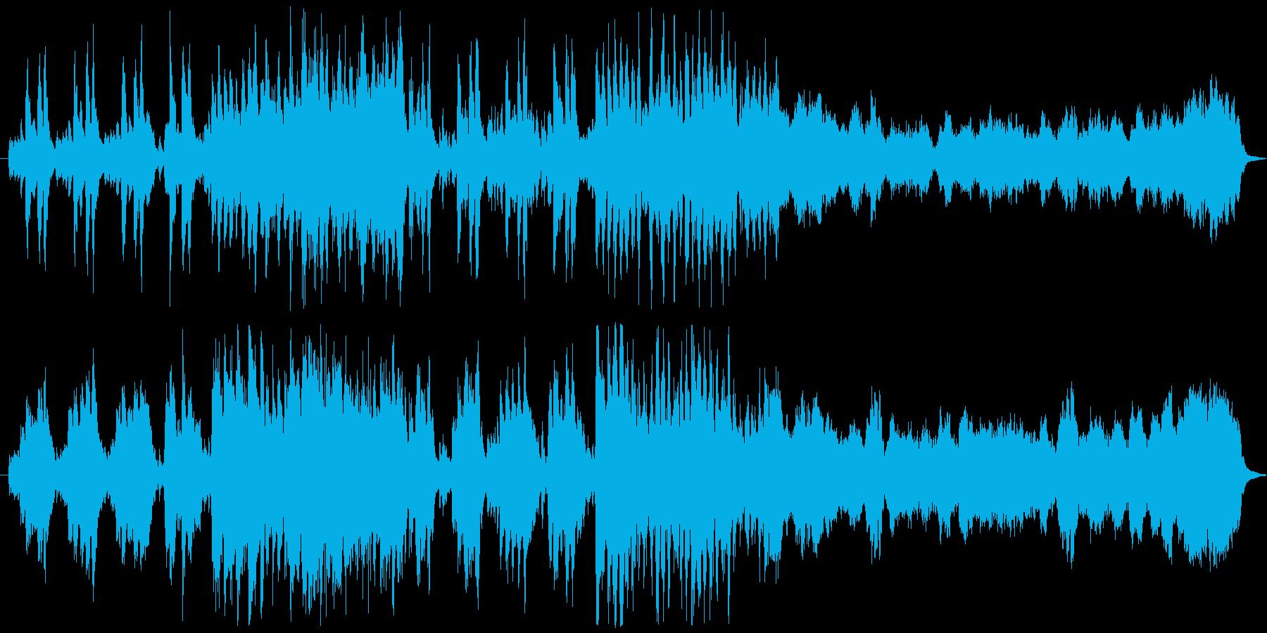 楽しげな様子を表したオーケストラ曲の再生済みの波形
