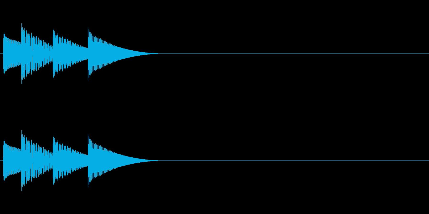 ゲームの決定音「ピロリン」の再生済みの波形