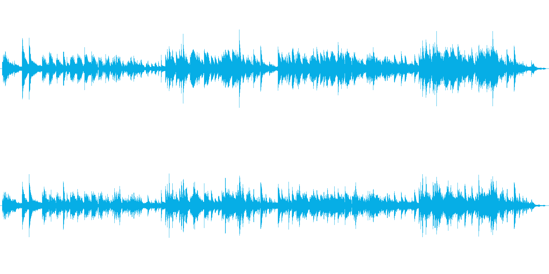 しっとりとしたピアノ曲の再生済みの波形
