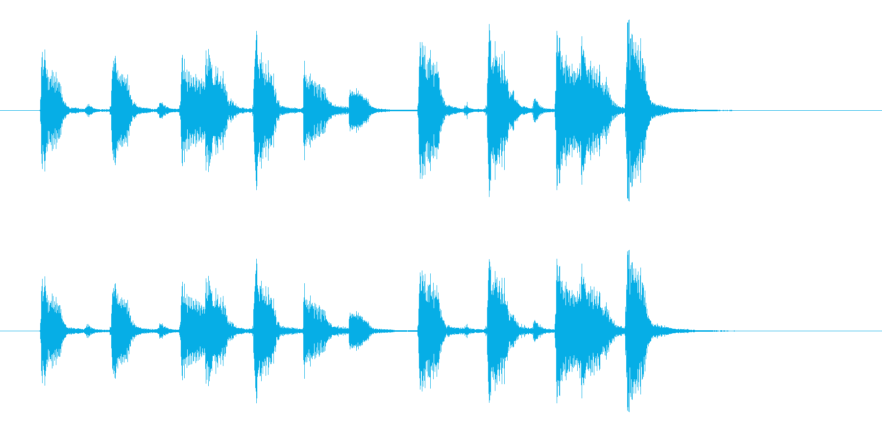 ジャンジャジャン(明るく穏やかなアコギ)の再生済みの波形