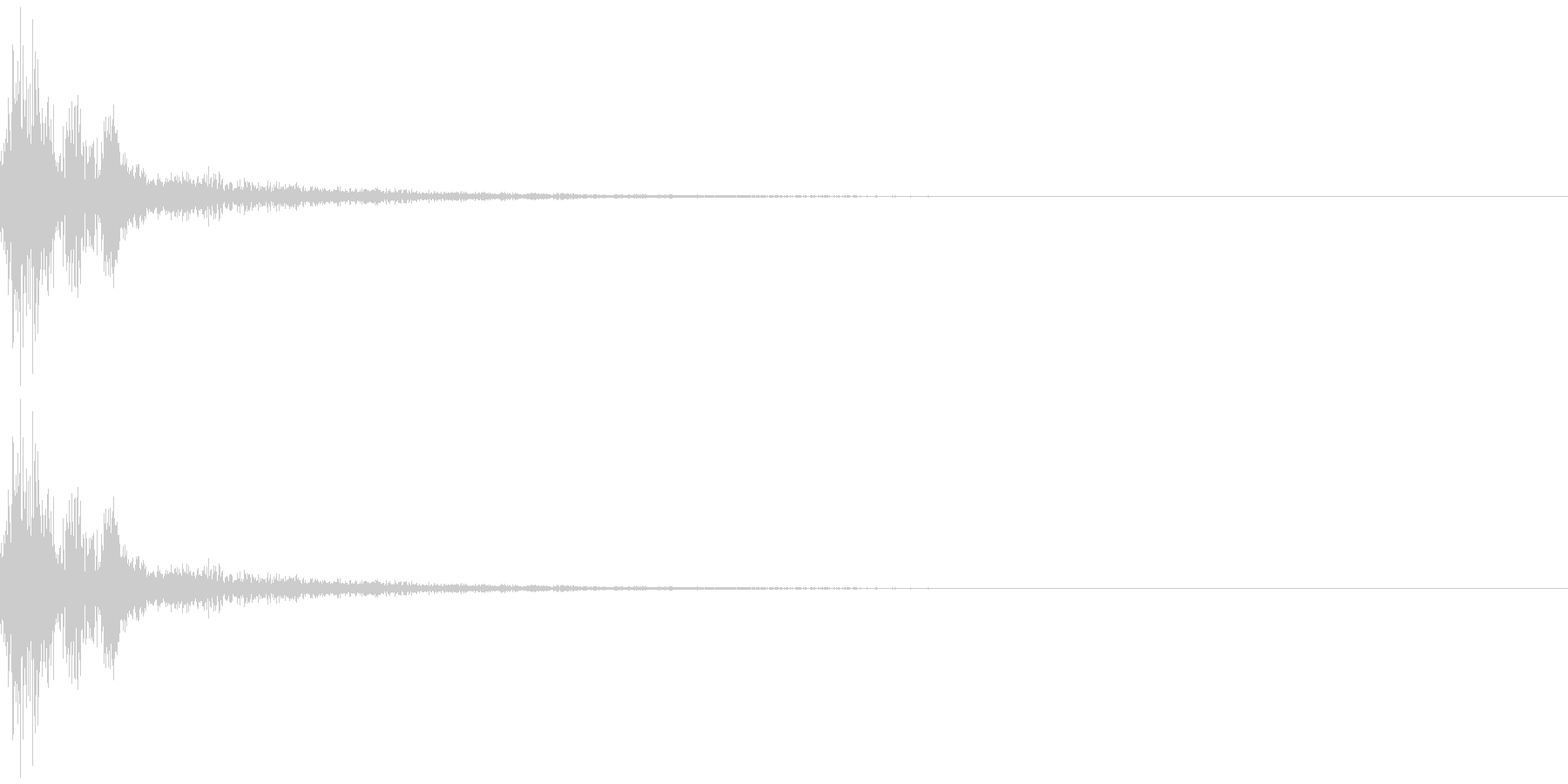 ガチャッ残響音 金属音 ドアノブの未再生の波形