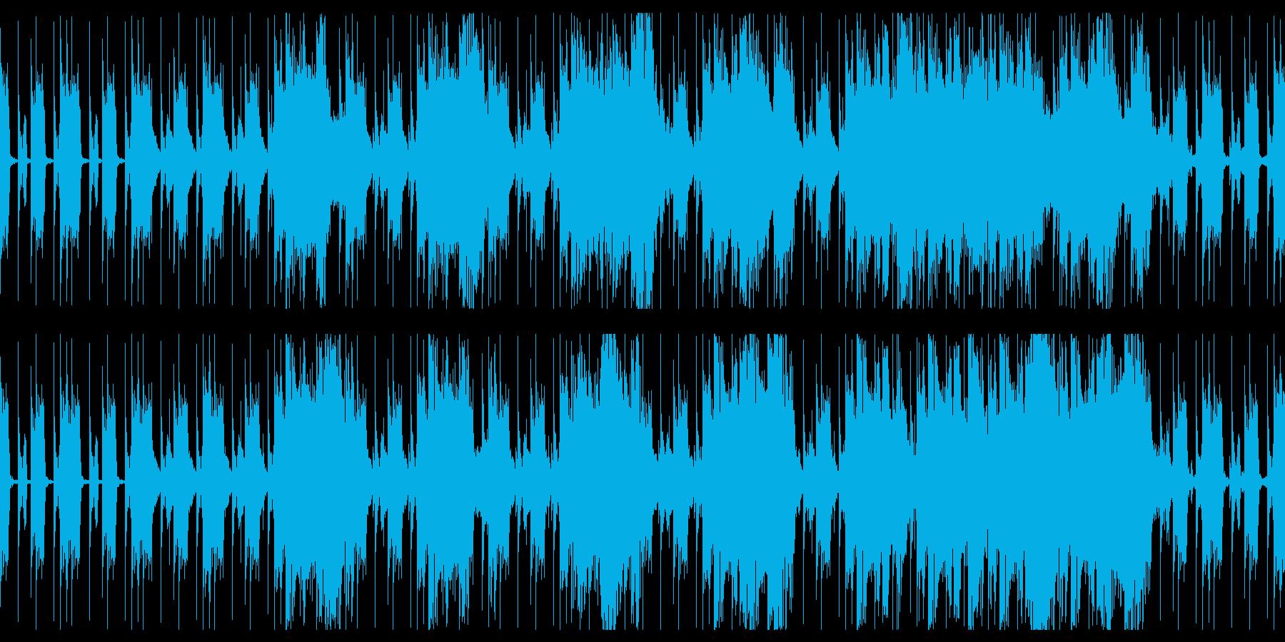 力強いビートとシンセによる無骨なループ曲の再生済みの波形