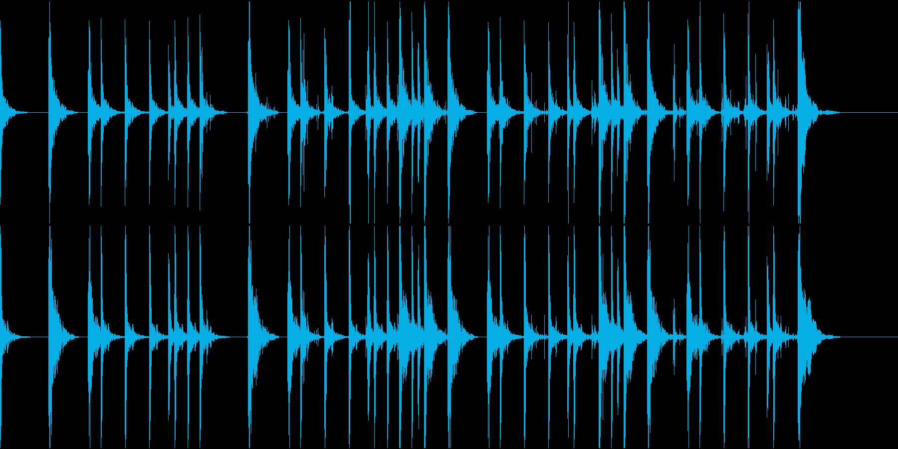 足音をイメージした音の再生済みの波形