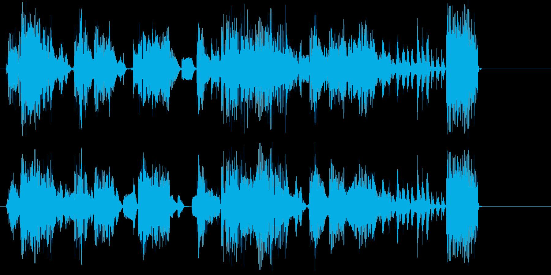 潰れたような音のショートミュージックの再生済みの波形