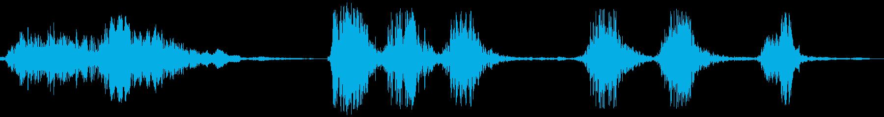 犬の鳴き声(ワンワンワンと吠える)の再生済みの波形