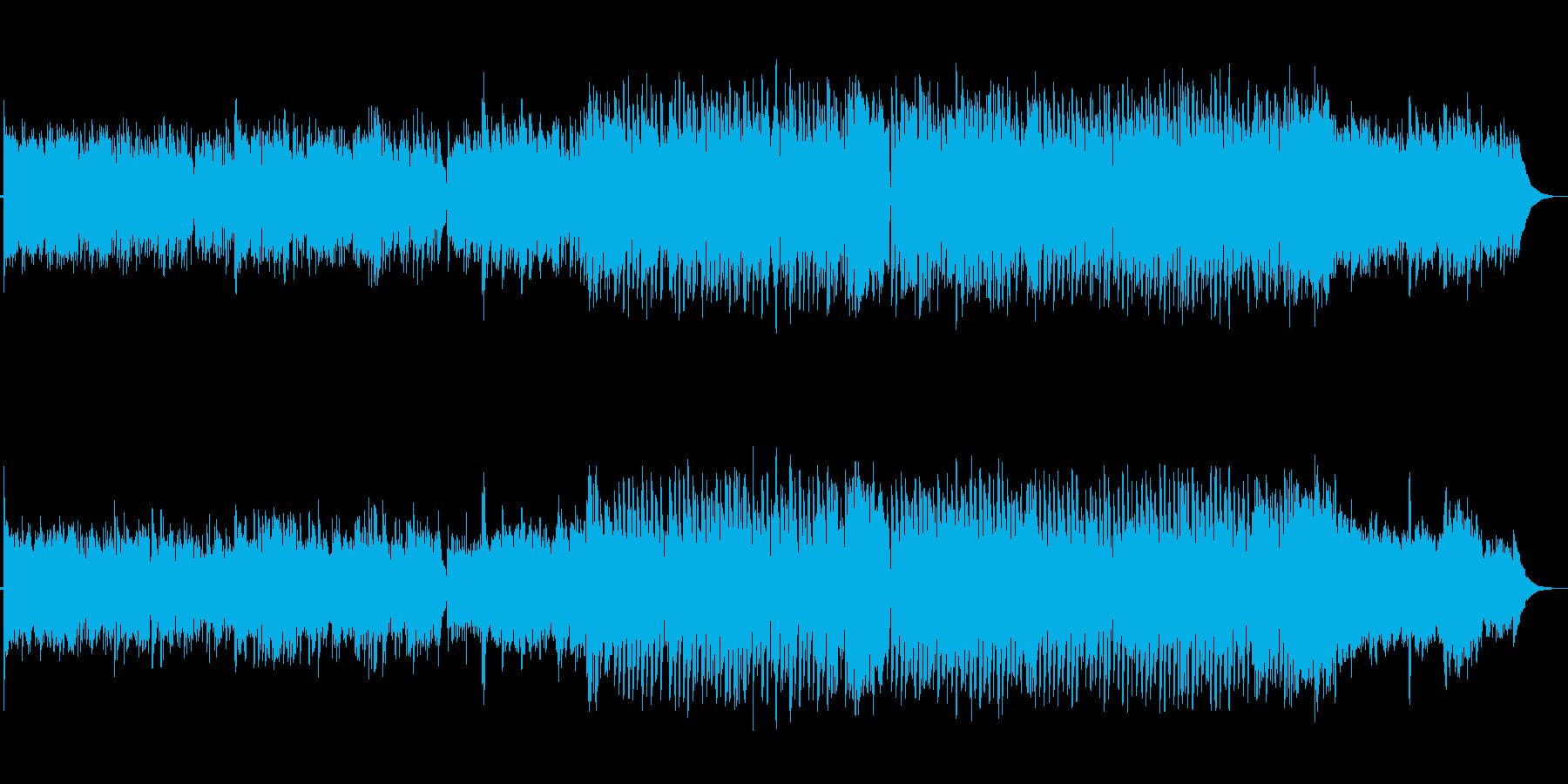 田舎道を歩くようなアコギ主体ののどかな曲の再生済みの波形
