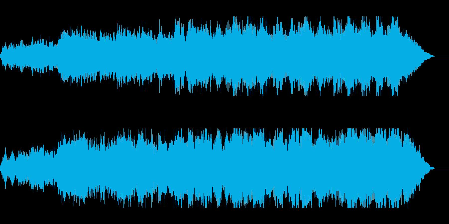 広がりのある壮大なオーケストラの曲の再生済みの波形