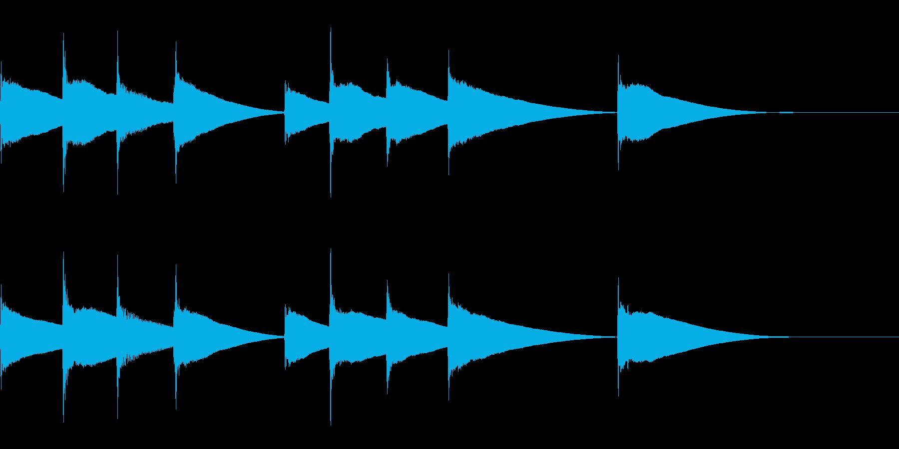 リズミカルな着信音の再生済みの波形
