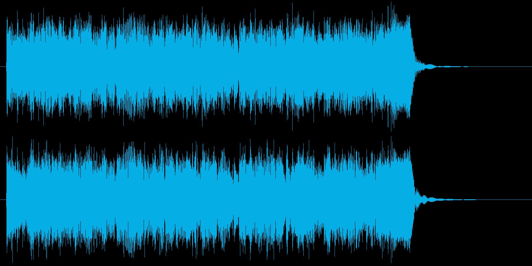 明るくお洒落なドラムとギターによるBGMの再生済みの波形
