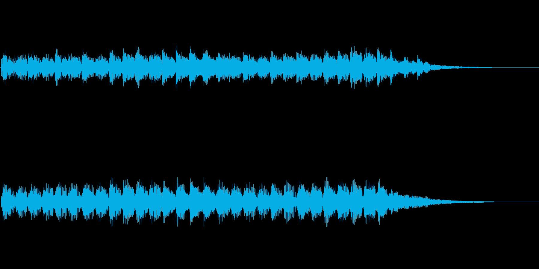 明るいジングル、お祝いのキラキラした音楽の再生済みの波形