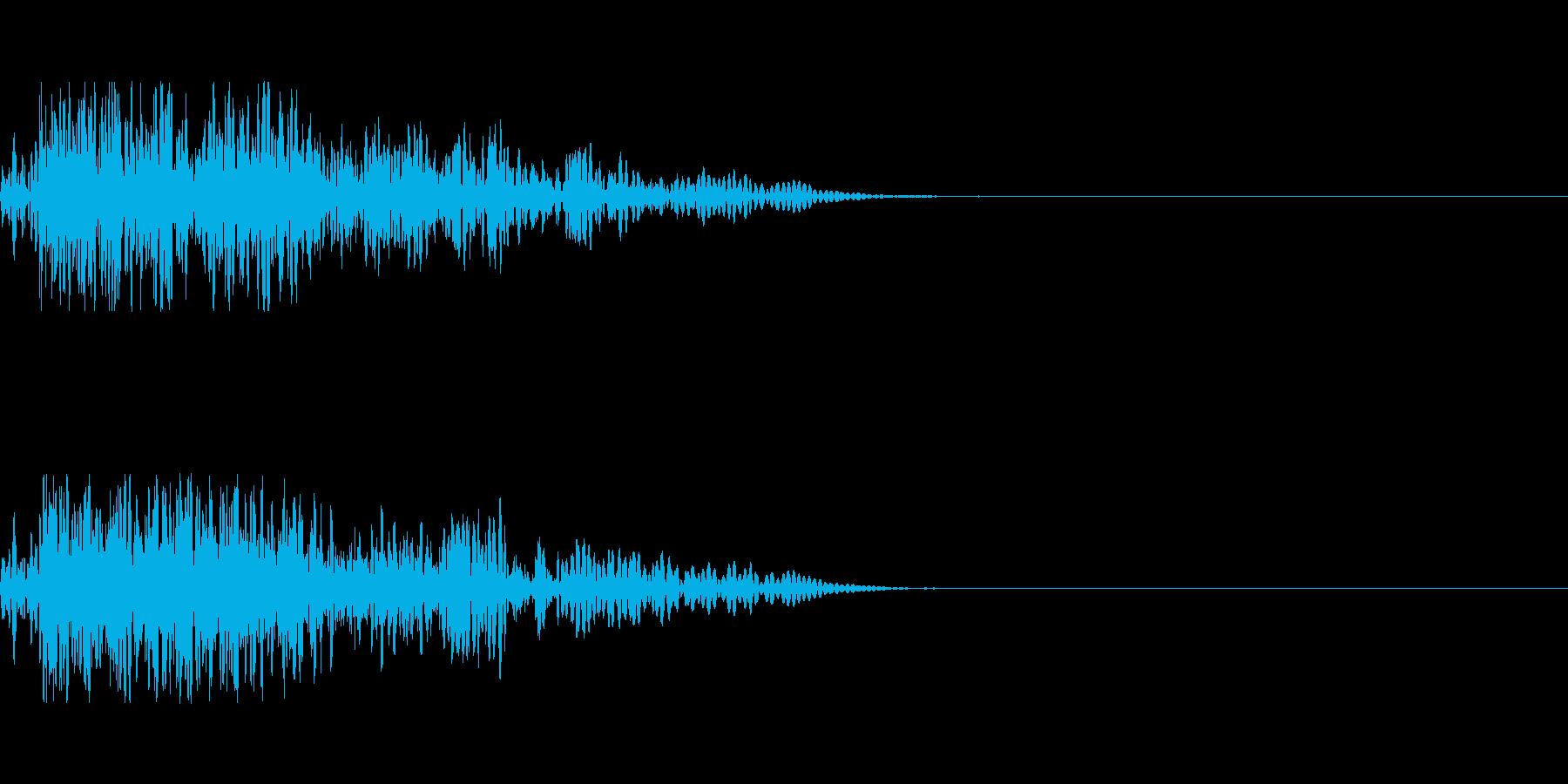 シンプルな爆発音の再生済みの波形