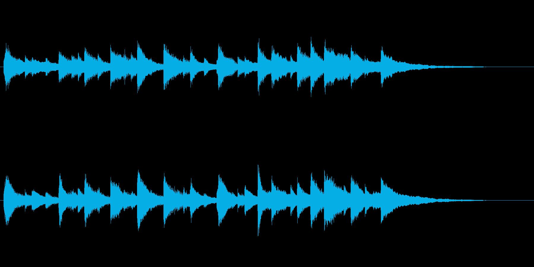 マイナーからメジャーへのピアノ曲の再生済みの波形