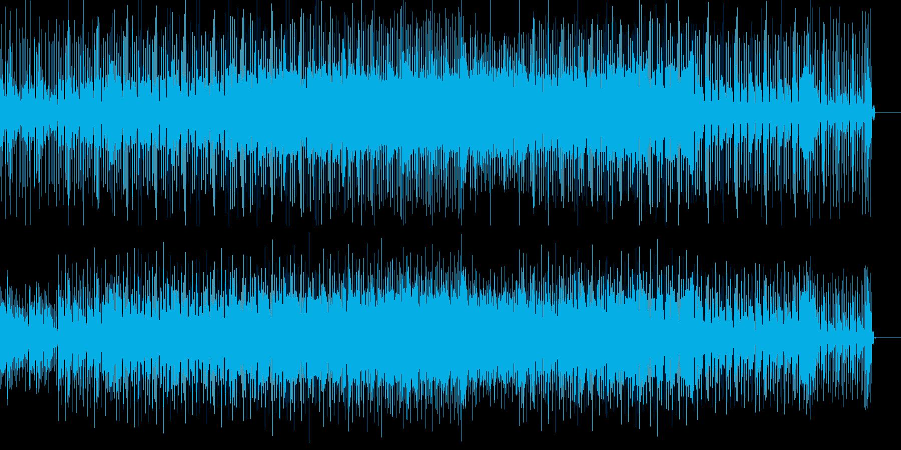 怪しげなギターリフと小気味好いリズムの曲の再生済みの波形