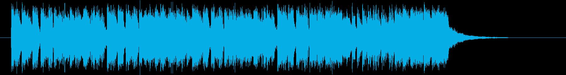 ディスコ調のテクノバンドのジングルの再生済みの波形
