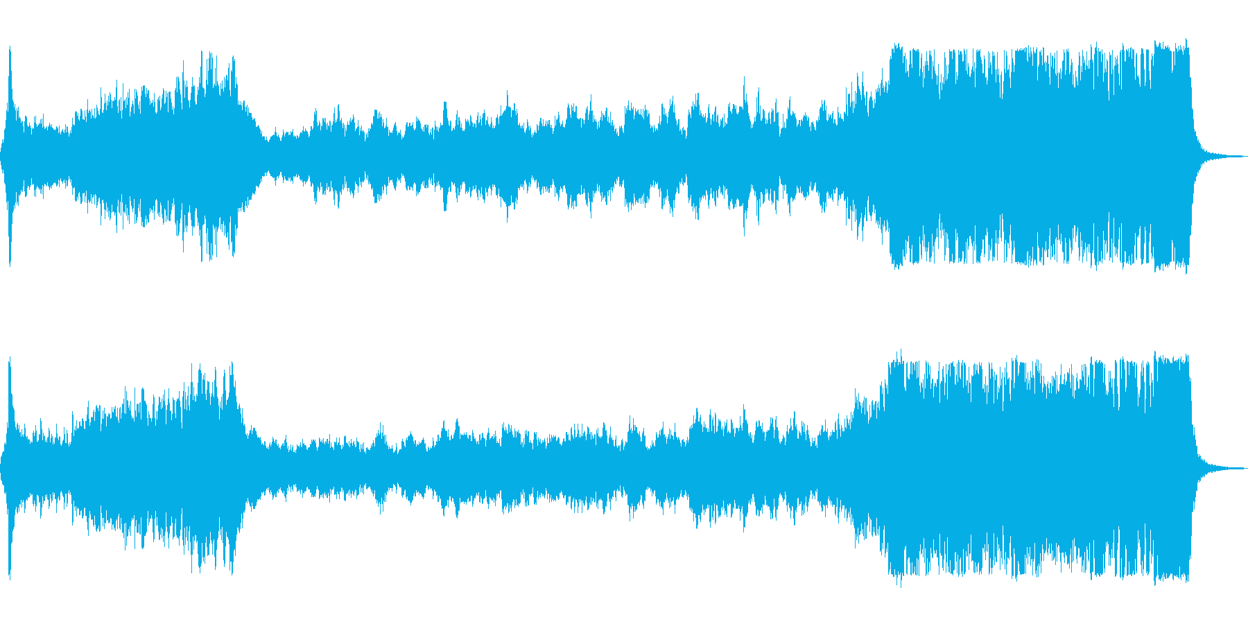 壮大なゲームオープニング風オーケストラ曲の再生済みの波形