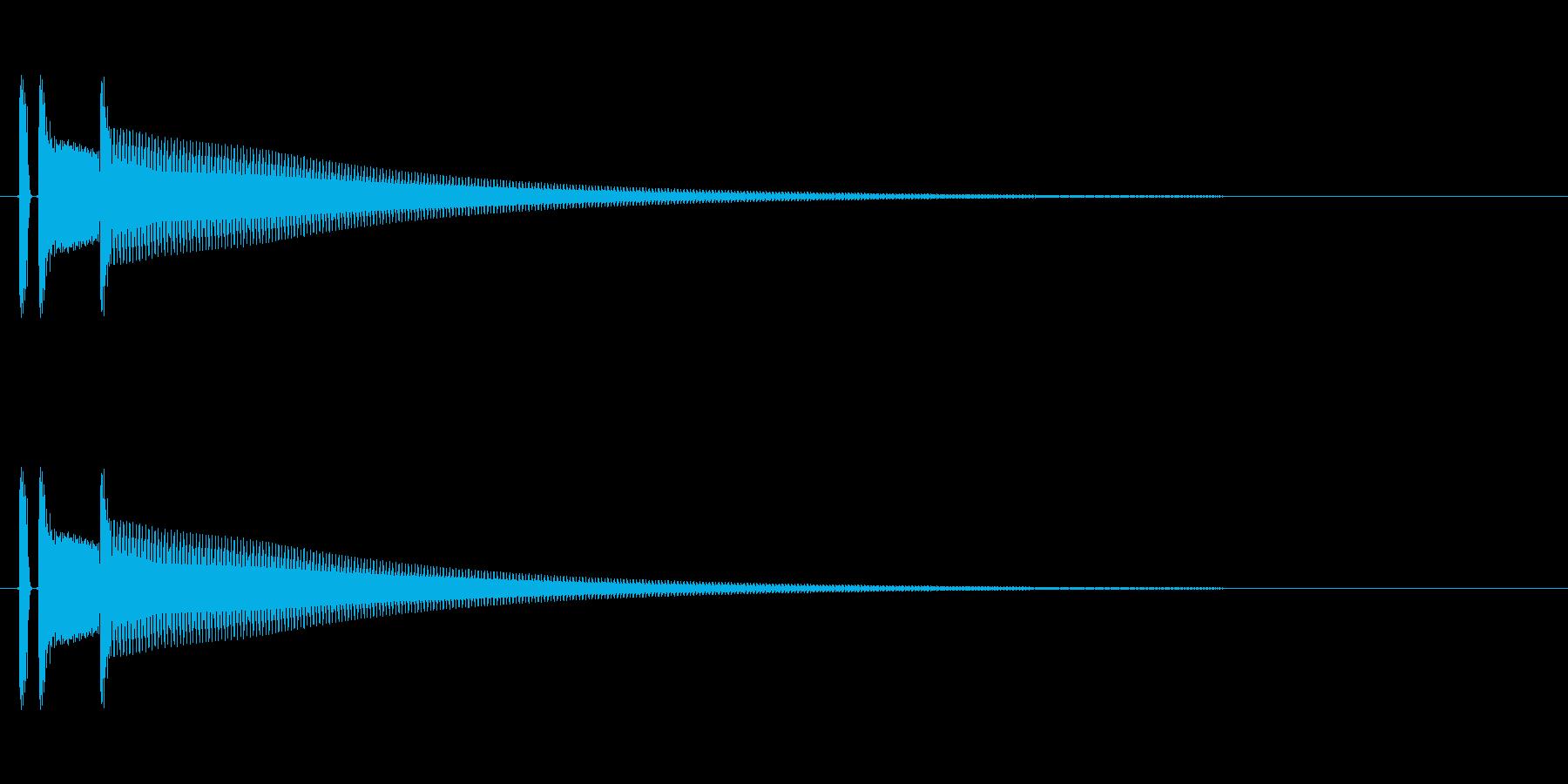 完了や決定の音。「ポポーン」の再生済みの波形