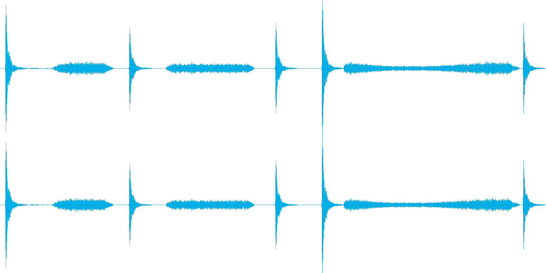 チョークで黒板に書く音の再生済みの波形