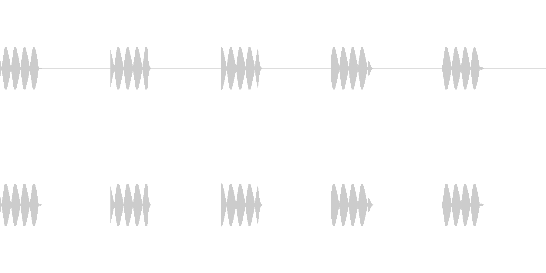 電話の着信音(5回鳴ります)の未再生の波形