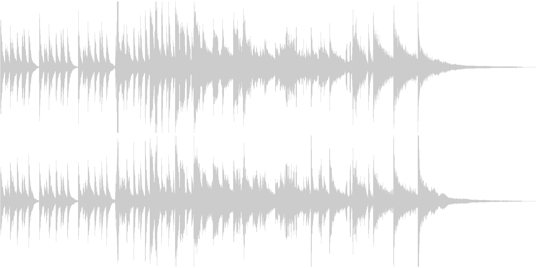 ピアノとエアーホイッスルのジングルの未再生の波形