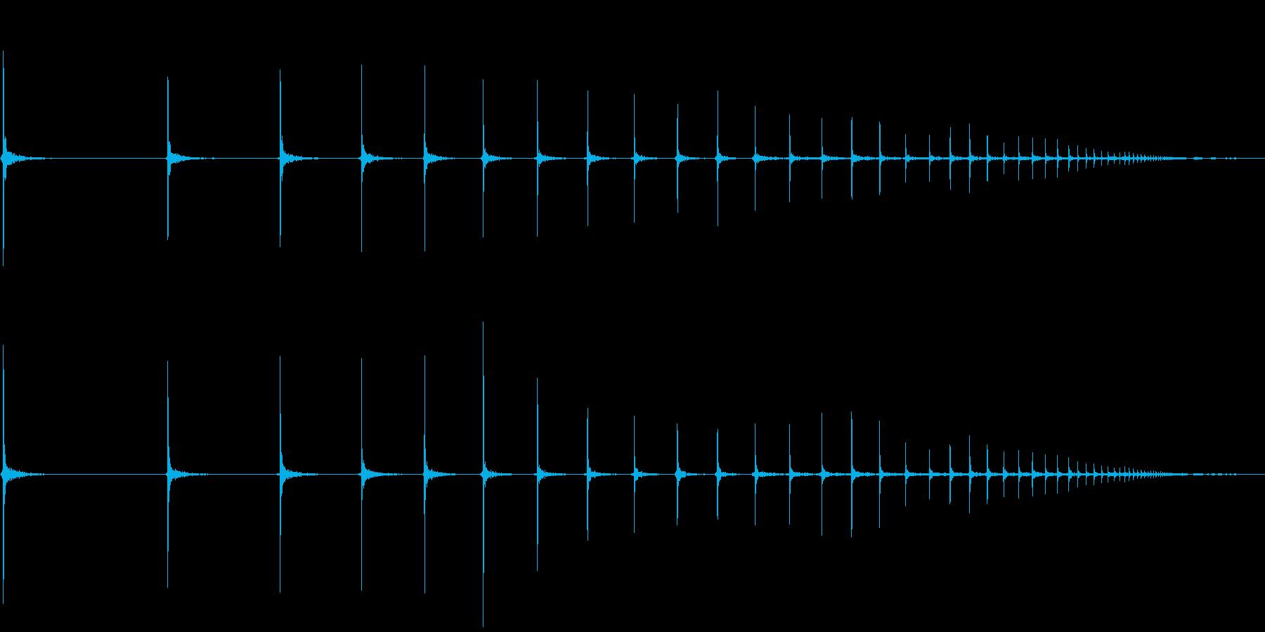 ピンポン玉が何回もはねるの再生済みの波形