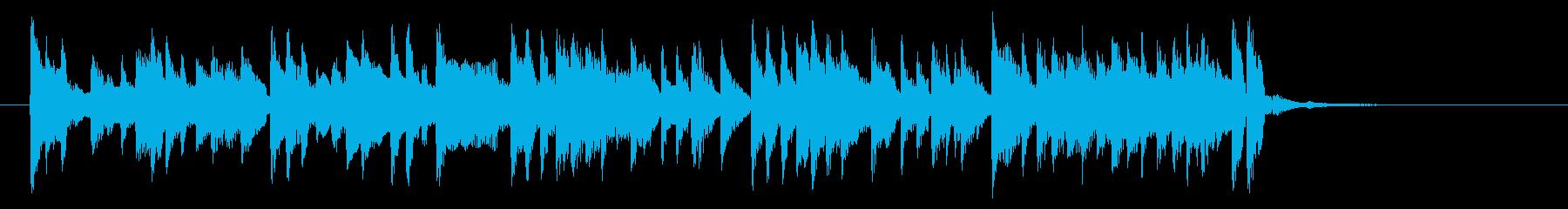 軽快でリズミカルなシンセとピアノジングルの再生済みの波形