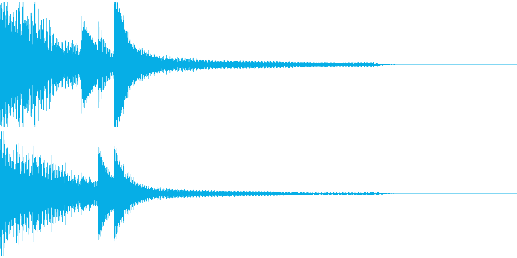 ピアノソロによるジングルの再生済みの波形