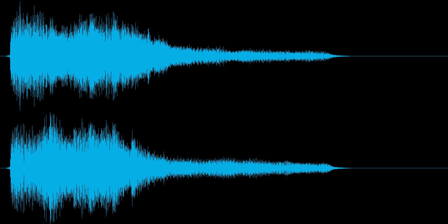 短いピアノメインの駆け上がりジングルの再生済みの波形